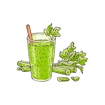 Celery smoothie in glass - healthy green blended vegetable drink