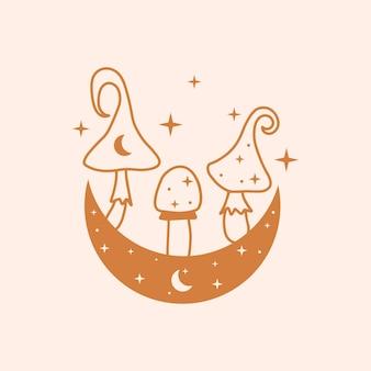 하늘과 신비한 버섯 그림 손으로 그린 벡터 디자인 요소 달과 버섯