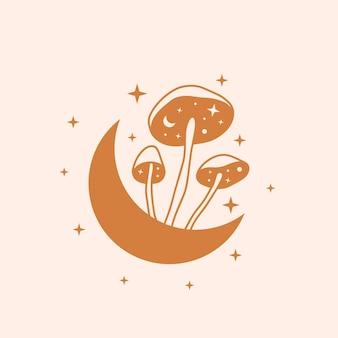 하늘과 신비한 버섯 그림 손으로 그린 벡터 디자인 요소 달과 버섯 프리미엄 벡터