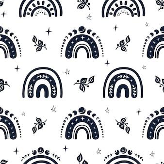 하늘 흑백 무지개 원활한 패턴