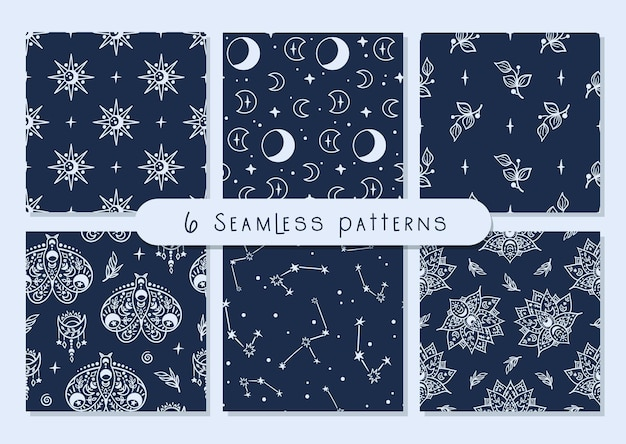 Celestial black and white moon, butterfly, lotus, stars seamless pattern set