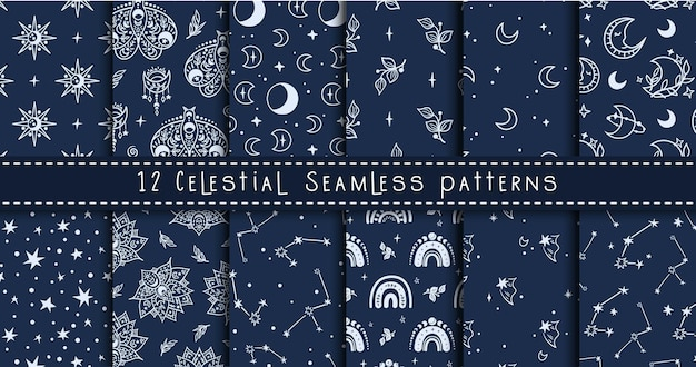 Celestial black and white moon, rainbow, stars seamless pattern bundle