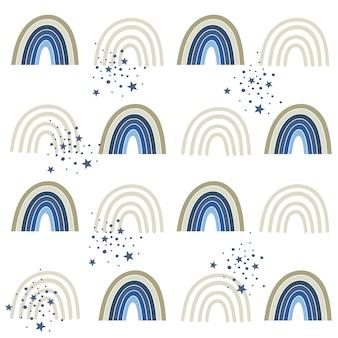 セレスティアルブルーレインボーシームレスパターン。