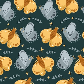 Celestial boho kids seamless pattern with butterfly or moth