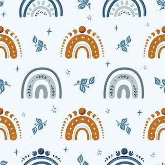 무지개와 별과 하늘 boho 아이 완벽 한 패턴