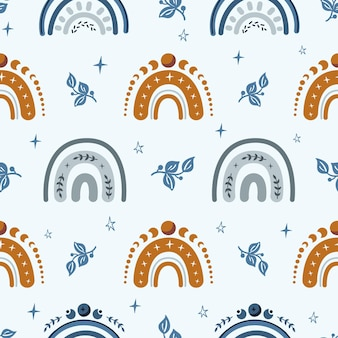 Celestial boho kids seamless pattern with rainbow and stars Premium Vector