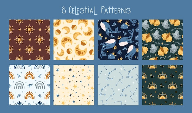 Celestial boho kids seamless pattern with rainbow, whale, butterfly, moon and stars