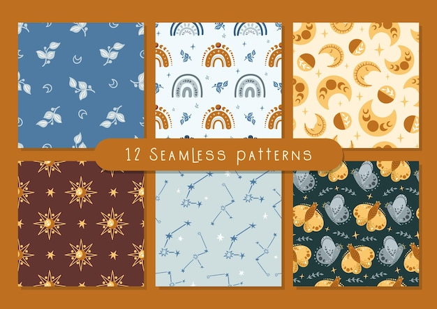 Celestial boho kids seamless pattern with space butterfly