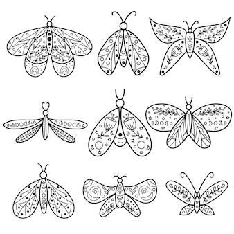 Celestial butterfly line art clipart. vector illustration.