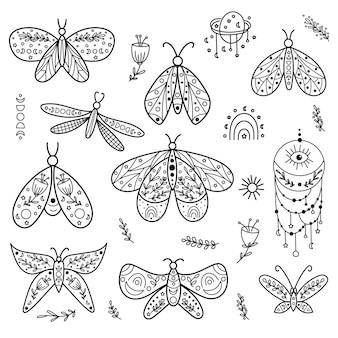 Небесные бабочки линии искусства клипарт. векторная иллюстрация.