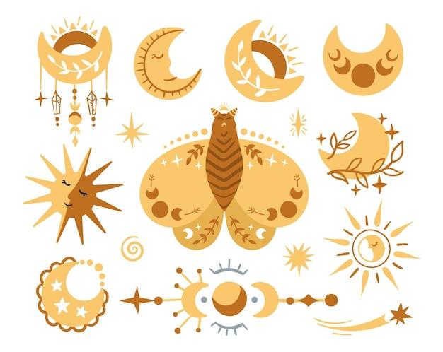 하늘 나비, 나방, 달. 손으로 그린 달, 태양 및 흰색 바탕에 별.