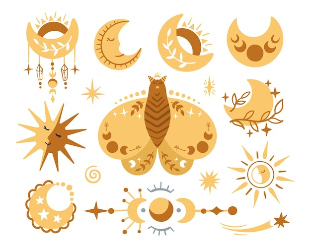 Celestial butterfly, moth, moon. hand drawn moon, sun and stars on white background.