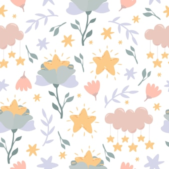 Celestial flowers, clouds and star seamless pattern