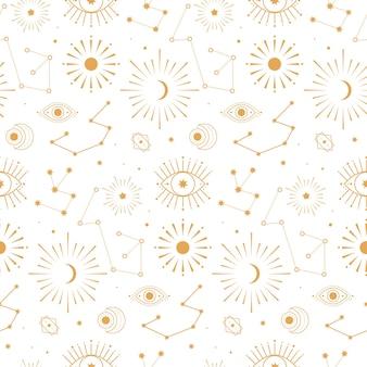 天体の金の惑星のシームレスなパターン