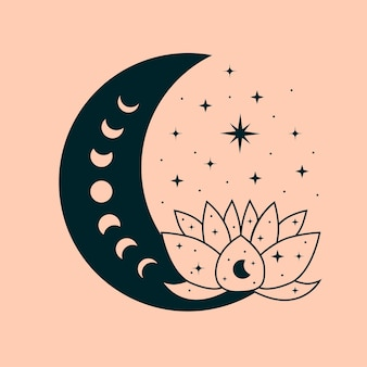 Celestial illustration lotus magical and mystical art