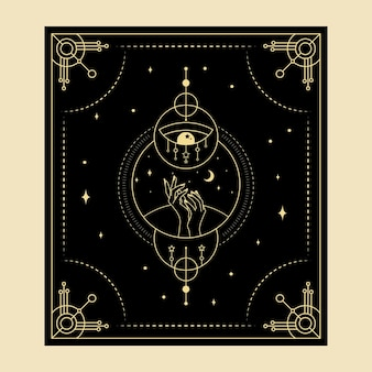 Celestial magical tarot cards esoteric occult spiritual reader witchcraft  crystal hands eye symbols