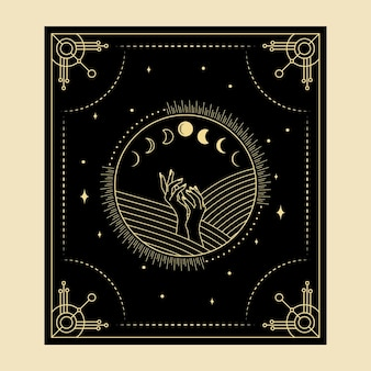 Celestial magical tarot cards esoteric occult spiritual reader witchcraft hand moon phases symbols