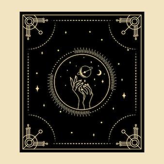 Небесные магические карты таро эзотерический оккультный духовный читатель колдовство рука символы фаз луны