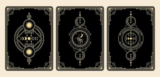 천계의 마법의 타로 카드 세트 밀교 신비로운 영적 리더 요술 마법 크리스탈 기호