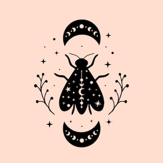 Celestial and mystical bee illustrations with moon and stars