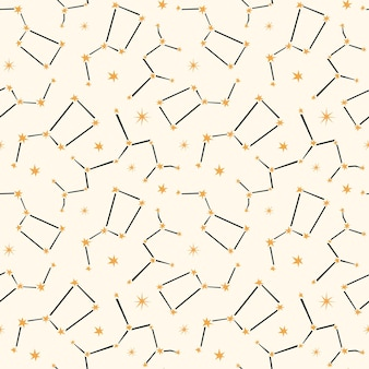 Celestial seamless pattern with constellations.