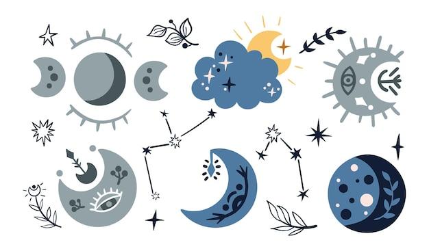 하늘의 하늘. 만화 달, 구름, 별자리와 흰색 바탕에 별.
