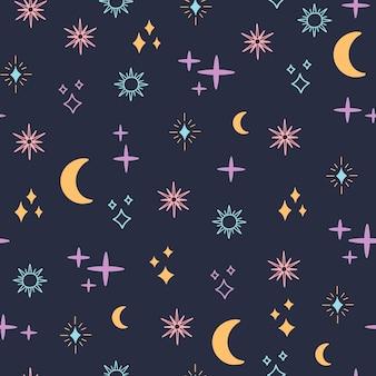 천상의 공간은 매끄러운 패턴, 색의 마법 물체 달, 태양, 별, 단순한 모양, 보헤미안 별자리 요소. 섬유에 대 한 파란색 배경에 boho 스타일의 현대 유행 벡터 일러스트 레이 션