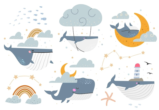 Celestial whales vector set. collection of various fantasy illustrations with whales.