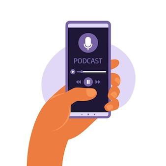 스크린 스마트 폰에 팟 캐스트가있는 휴대폰 앱. 손 평면 벡터 일러스트 레이 션에 스마트 폰입니다. 팟 캐스트 또는 온라인 코스를 듣는 남자.