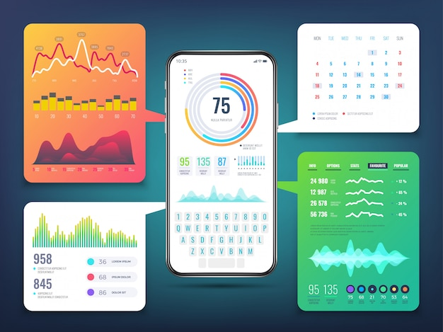 Cell phone application interface design with business infographics charts and graphs.