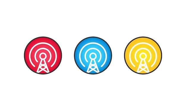 携帯電話タワーアイコンフラットセット。アンテナアイコン。ワイヤレスアイコン。モバイル接続回線。