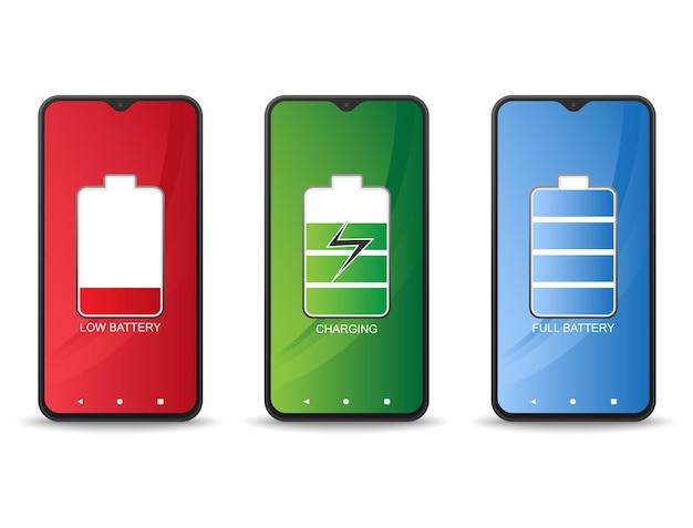 Сотовый телефон, когда батарея разряжена, батарея заряжена и батарея полностью заряжена.