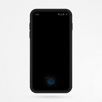 Cell phone with touch id on screen. black phone and fingerprint recognition system.