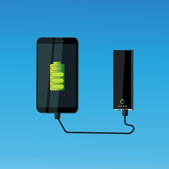 Cell smart phone charging from power bank portable mobile battery device concept