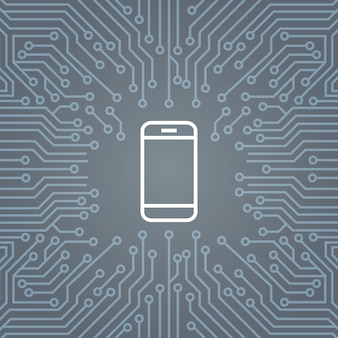 Cell smart phone icon over computer chip moterboard background banner