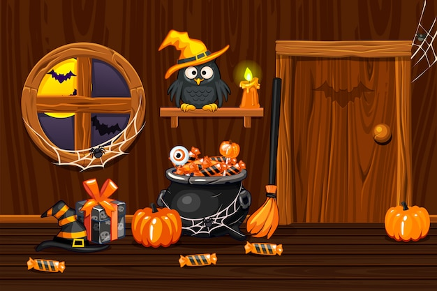 Cellar house, illustration interior wooden  room with halloween symbols