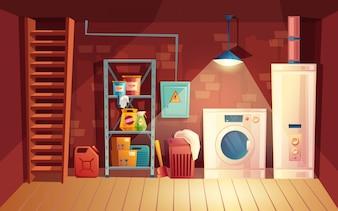 Cellar interior, laundry inside the basement in cartoon style.