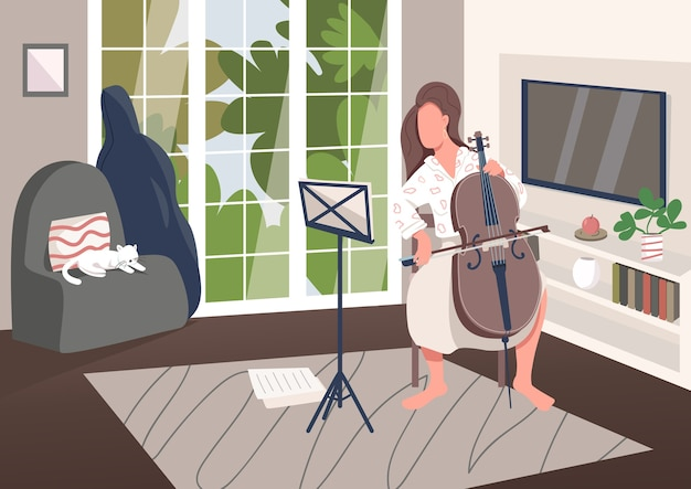 Cello player at home flat color illustration