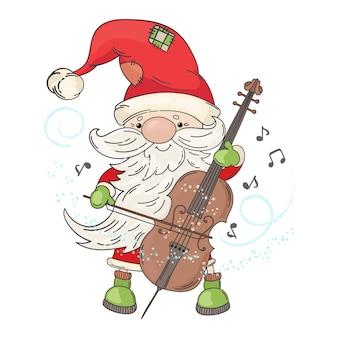 Cello santa рождественский музыкант