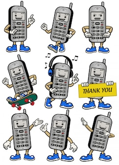 Cellphone mascot set in various poses