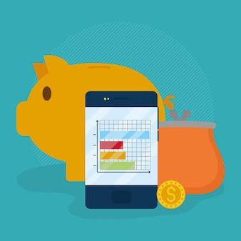 Cellphone and piggy bank illustration