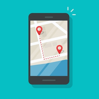 Cellphone with city map pin pointers and run track direction