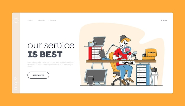 Cellphones, mobile phones fixing service landing page template.