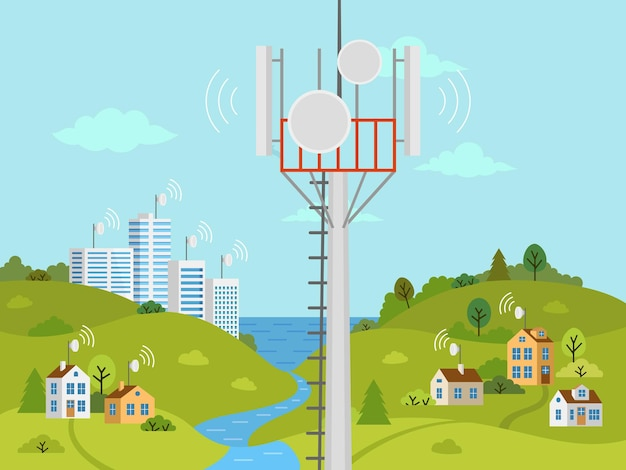 Cellular transmission tower in front of landscape. wireless radio signal connection with houses and buildings