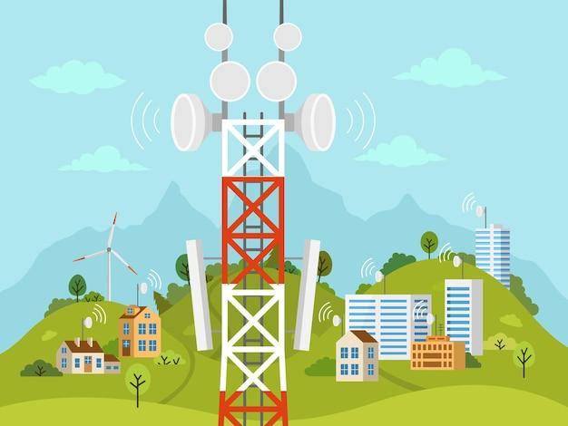 풍경 앞의 셀룰러 전송 타워입니다. 장애물을 통해 주택 및 건물과 무선 무선 신호 연결. 위성 통신 안테나가있는 이동 통신 타워.