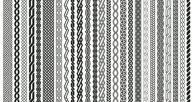 Celtic braids patterns. braided irish pattern seamless borders, knotted braid ornaments isolated vector illustration set. woven celtic braids elements. twisted cord and braided, border pattern