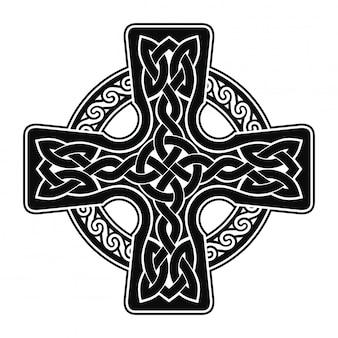 고립 된 인터레이스 리본으로 국가 장식으로 켈트 십자가