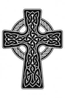 Celtic cross with national ornament as interlaced ribbon isolated