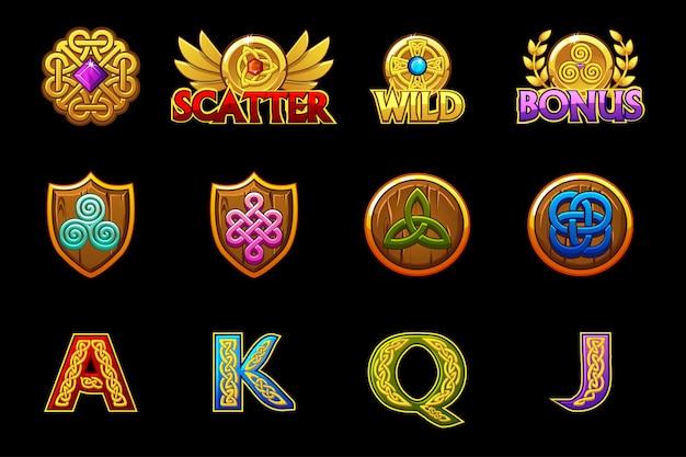 Кельтские иконки для игровых автоматов казино с кельтскими символами. значки слотов на отдельных слоях.