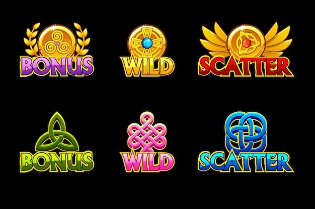 ケルト族のアイコン。ワイルド、ボーナス、スキャッターのアイコン。ゲーム、スロット、ゲーム開発。
